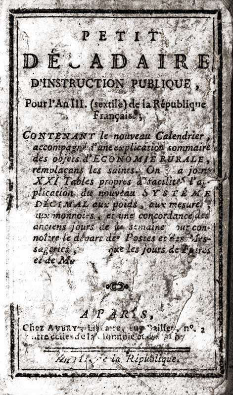 Petit décadaire instruction publique 1794